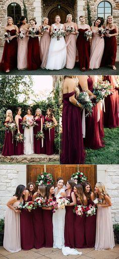 burgundy and blush mismatched bridesmaid dresses #weddingcolors #weddingthemes #fallweddings #weddingideas #burgundywedding #weddinginspiration #weddingdecor #weddingcakes #weddingcenterpieces #weddingflowers