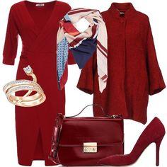 9ae023955abe Il total look rosso  outfit donna Chic per ufficio e serata fuori