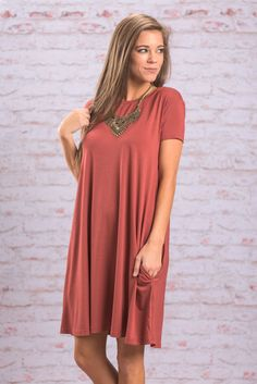 Short Sleeve Piko Dress With Pockets - Rust - The Mint Julep Boutique
