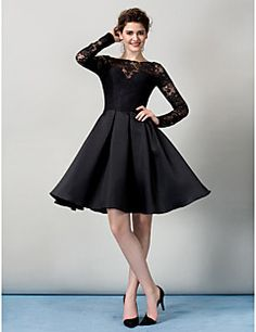 Homecoming TS Couture Cocktail Party Dress - Black A-line Bateau Knee-length Lace