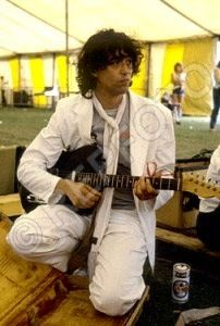 """◾Jimmy Page . . . Knebworth Festival ~ Stevenage, United Kingdom ~ '1979◾  •Jimmy """"warms up"""" under Zeppelin tent at Knebworth.  Led Zeppelin played two separate shows at this festival: August 4th & 11th.  Jimmy's father, Jim Sr. attended and was greeted at the entrance by his awaiting son.    © REPFO"""