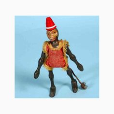 schoenhut toys | Schoenhut Wood-Animals Circus monkey standing of wood, white face