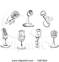 Clipart Black And White Karaoke Or Singer And Retro Radio Desk Microphones - Royalty Free Vector Illustration by Seamartini Graphics Microphone Drawing, Microphone Images, New Tattoos, Small Tattoos, Tatoos, Mic Tattoo, Clip Art Pictures, Art Images, Music Tattoo Designs