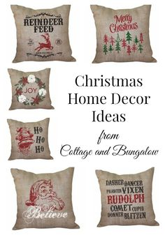 Bring a little Christmas cheer to your home with accent pillows in unique holiday designs and take your Christmas home decor to a whole new level. All prints are hand screened onto 100% organic burlap.