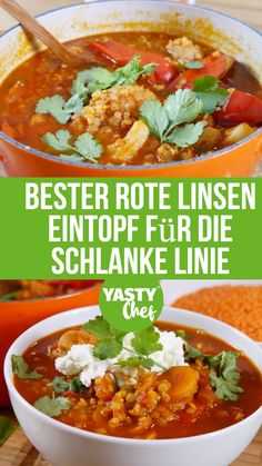 Bester rote Linsen Eintopf für die schlanke Linie Are you looking for a varied red lentil recipe for the cold days? How about a vegan red lentil stew with lots of juice and a little spiciness? Lunch Recipes, Soup Recipes, Vegetarian Recipes, Healthy Recipes, Rice Recipes, Summer Recipes, Red Lentil Recipes, Recetas Whole30, Clean Eating Soup