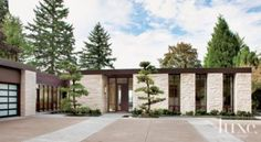 Contemporary Stone Entry | Front Elevations | LUXE Source