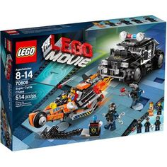 Lego P/N; Part their SWAT car's flick missiles and deadly dynamite. Robo Police SWAT car features removable roof, gun holder, flip-out flick missiles and opening trunk with dynamite. Legos, La Grande Aventure Lego, Lego Movie Sets, Gadgets, Toy R, Star Wars, Buy Lego, Cool Lego, Swat