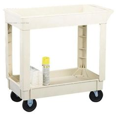"Continental 5805BE, Utility Cart with 5"" Non-Marking Grey Casters, 400 lbs Capacity, 40-3/8"" Length x 25-1/2"" Width x 33"" Height, 2 Shelves, Beige (Case of 1)"