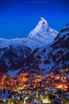 Good night Matterhorn, Zermatt, Switzerland (by Weerakarn). Beautiful and peaceful Zermatt. Zermatt, Places Around The World, Oh The Places You'll Go, Places To Visit, Around The Worlds, Wonderful Places, Beautiful Places, Top Places To Travel, Adventure Is Out There
