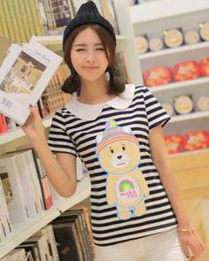 Stripe cartoon bear t shirt for girls peter pan collar shirt plus size-