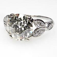 Antique Art Deco 2.5 Carat Old European Cut Diamond Engagement Ring Solid Platinum    $19499.00