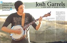 This article has a central focus equally balanced between the guitar player and the text. The banjo leads the reader's eyes to the content along with the guy's elbow. They use a pull quote to the left of him, this is an entry point as well as the banjo, his elbow, his eye line view is looking down to the text. They use negative space well in the background.