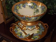 Limoges Rare Violet Decorated Punch Bowl/Plinth with Matching Ladle and Serving Tray/Platter