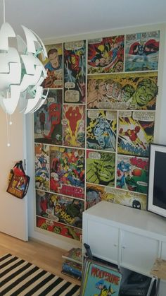 Marvel wallpaper. Our 7 year old boy wished to have marvel theme room and the first part of it is done!!