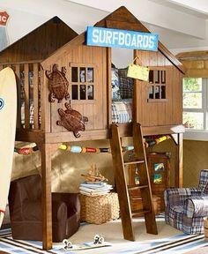 Little Boy Bedroom Ideas this is awesome! love the little windows and the ladder to get in