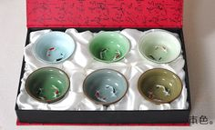 Chinese gift LONGQUAN tea cups tea set with double fishs Gold Prize Boutique tea