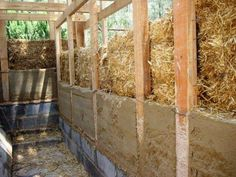There are many ways to reduce or eliminate notching, and this is one of the most innovative! The idea is to build two walls - studs sideways. Then the strawbales go into the frame. Tying the inner and outer studs together will increase strength of the whole wall.  The second innovation here is the plaster...formwork is used against the studs, and the plaster is essentially poured between the forms and the straw...nice and thick for excellent thermal mass and excellent bond to the straw.