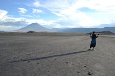 Maasai warrior at Lake Natron over looking the Mountain of God, Ngorongoro Crater Conservation Area