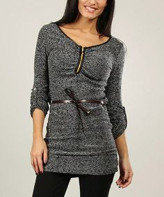 Another great find on #zulily! Black Wool-Blend Belted Tunic by Annabelle #zulilyfinds