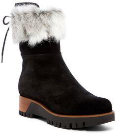 d0727e621564 Manas Genuine Rabbit Fur Trimmed Suede Boot