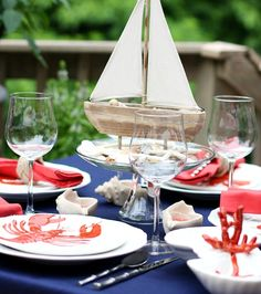 Ideas for Summer Entertaining with a Nod to Nautical: http://www.completely-coastal.com/2015/06/nautical-summer-entertaining-party-ideas.html