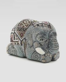 V18YL Judith Leiber Pave Crystal Elephant Minaudiere