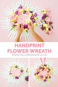 HOW TO MAKE A HANDPRINT FLOWER WREATH Wreath Crafts, Diy Wreath, Wreaths, Paper Crafts For Kids, Fun Crafts, Mother's Day Projects, Footprint Crafts, Nana Gifts, Handprint Art