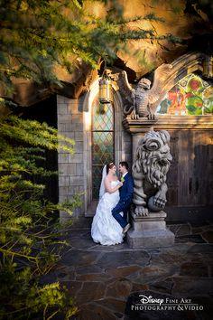 Enchanting wedding moments in New Fantasyland at Disney's Magic Kingdom. #somethinggoldweddings