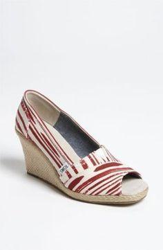 TOMS Calypso Wedge Espadrille Shoes Pumps Open Toe Stripe 7.5 Red Platform #Toms #PlatformsWedges #Any