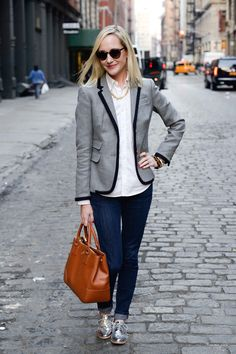 Blazers, Metallic Oxfords and Pearls in SoHo, NYC - Kelly in the City