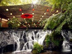 貴船 川床  Kifune Kawadoko restaurant, Dining platforms over the river. Kibune-Kurama Kyoto Japan