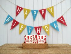 Vintage Circus Happy Birthday Burlap Banner / by nhayesdesigns, $45.00  (also sold without lettering)