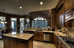love the tile and the wood cabinet combination