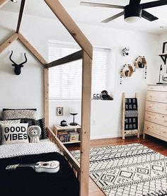 modern boho boy room with rustic wood bed and music theme boys room ideas, boy bedroom decor, boy bedroom design, boy bedroom furniture, boy room artwork ideas Big Boy Bedrooms, Baby Boy Rooms, Kids Bedroom, White Bedroom Furniture Room Ideas, Kids Rooms, Chambre Nolan, Renta Casa, Kids Room Design, My New Room