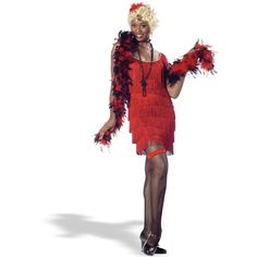Fashion Flapper (Red) Adult Costume ($33) ❤ liked on Polyvore featuring costumes, halloween costumes, white slip, womens slip, adult women costumes, gatsby costume and ladies halloween costumes