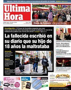 Los Titulares y Portadas de Noticias Destacadas Españolas del 2 de Marzo de 2013 del Diario Ultima Hora Baleares ¿Que le parecio esta Portada de este Diario Español?
