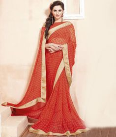 Buy Orange Georgette Printed Saree With Blouse 75041 with blouse online at…