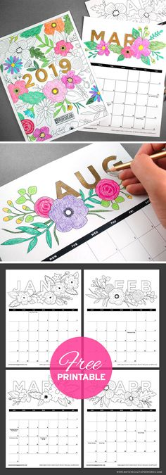 Plan for 2019 with this fun Free Printable Coloring Book Calendar! It's filled will floral illustrations that you can color in.