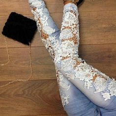 Floral lace jeans Size XL or about 11. They have 2 small marks on the back bottoms of the pants (see pic) None Jeans Skinny