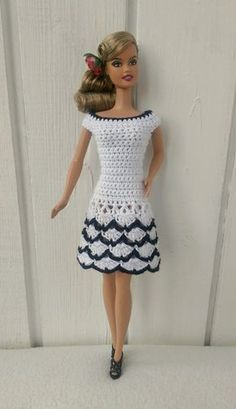 Best 12 Crochet Toys Barbie Clothes Barbie Kleidung Barbie Crochet Kleid für Barbie Doll – Handmade dress for Barbie doll by my own design. Crocheted dress made of white cotton yarn in combination with a black cotton yarn. Fastened at the back by t Crochet Doll Dress, Crochet Barbie Clothes, Doll Clothes Barbie, Barbie Dress, Barbie Barbie, Dress Clothes, Diy Clothes, Moda Barbie, Barbie Mode
