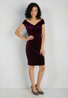In It to Vim It Dress. Should anyone ask, youre rarin to reveal that you chose to sport this velvet sheath dress for its lively qualities! #purple #prom #modcloth