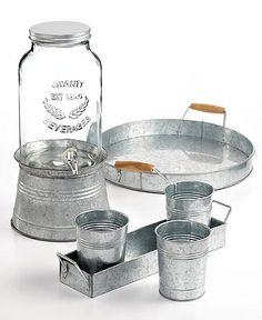outdoor party perfect is this rustic tin collection #weddingchickspicks #macys #partyessentials http://www1.macys.com/shop/wedding-registry/product/artland-oasis-galvanized-tin-collection?ID=790163&cm_mmc=BRIDAL-_-CARAT-_-n-_-WCPinterest