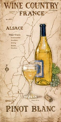 """Wine Country III"" by Janet Kruskamp - France Alsace Pinot Blanc (Wine Bottle & glass Art) #cCreams #cYellow #map"