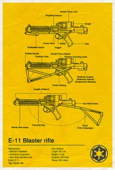 Star Wars: E11 Blaster Rifle (Blueprint) | By: Vespertin, via Flickr (#starwars)