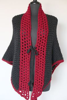 Black Color Red Berry Color Crochet Trim Chunky by KnitsomeStudio