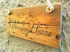 Welcome Home Sign Welcome Sign Welcome Wood Sign by TheWoodArtShop