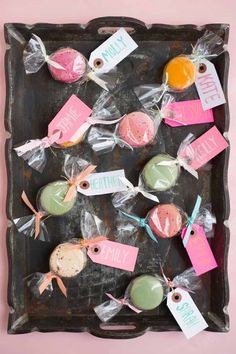 """Macaron """"candy"""" favors oh happy day! Macaroon Favors, Macaroon Packaging, Macaron Boxes, Dessert Packaging, Bakery Packaging, Wedding Favors And Gifts, Homemade Wedding Favors, Candy Party Favors, Cookie Favors"""