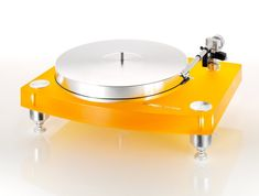 The Swiss THORENS TD2035 Yellow Acrylic Analog Turntable! Fierce! $4999.95 without cartridge.