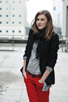 red denim + black blazer
