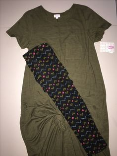 Outfit of the Day! - $80 FREE SHIPPING Medium Carly - Olive Green with Black Heather (SO CUTE!) TC Leggings - Black background with Aqua, Pink and Olive Green patterns LOVE IT!  Only available at https://www.facebook.com/groups/LuLaRoeSoCal/